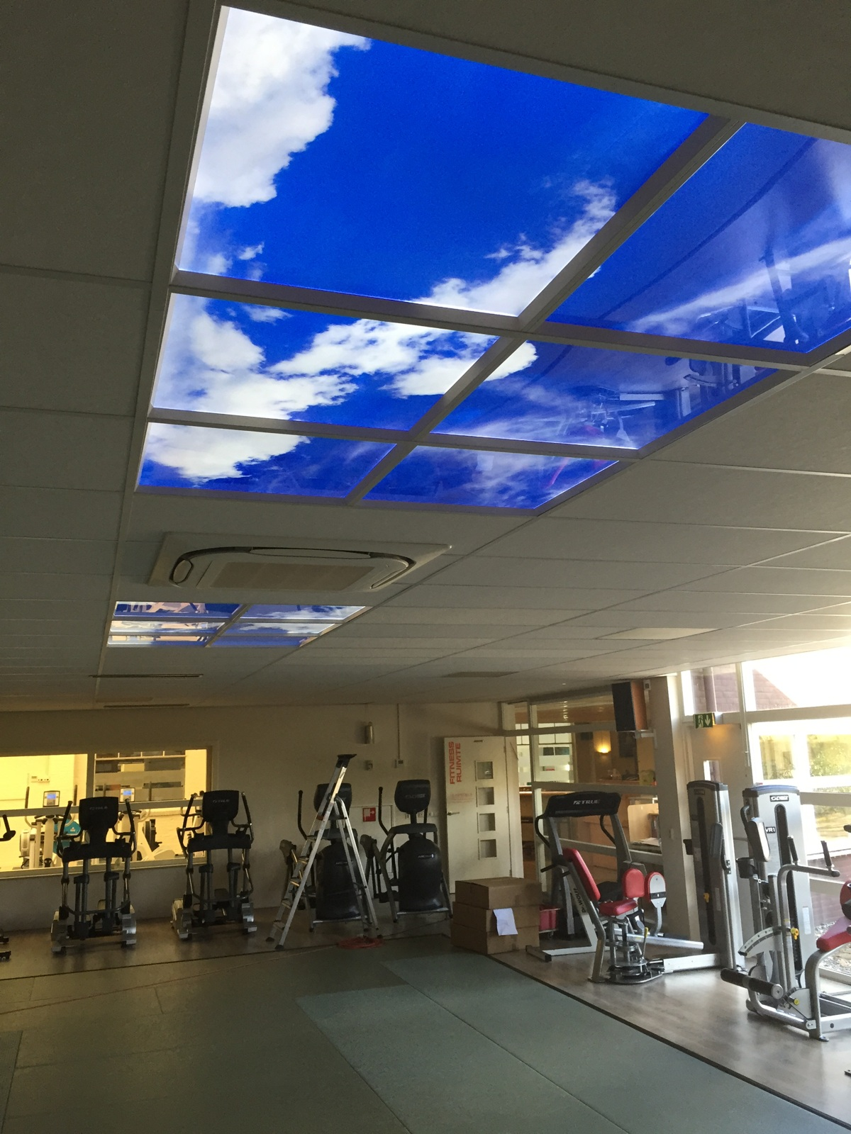 Plafond LED lumineux salle de sport